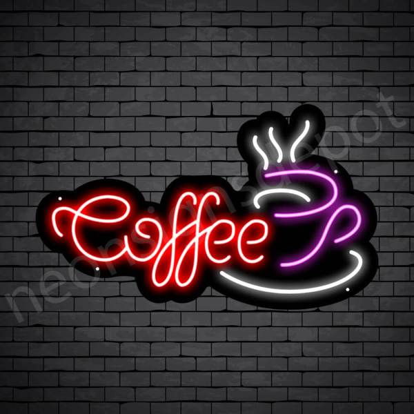 Coffee Neon Sign Coffee Cup Black 24x14