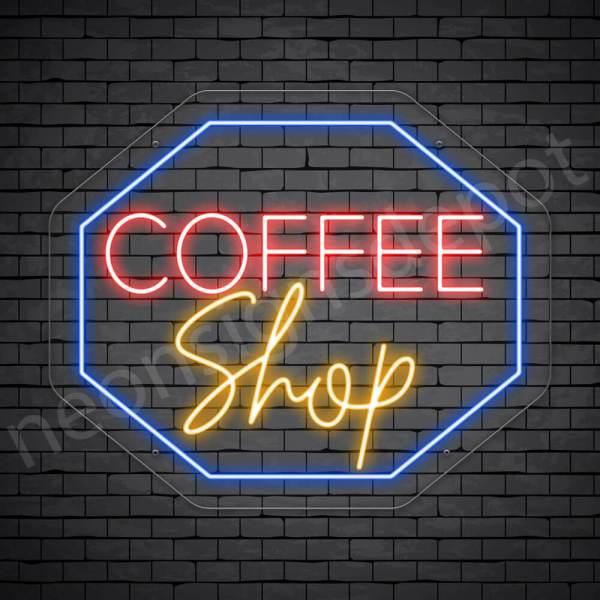 Coffee Neon Sign Coffee Shop Octagon Transparent 24x20