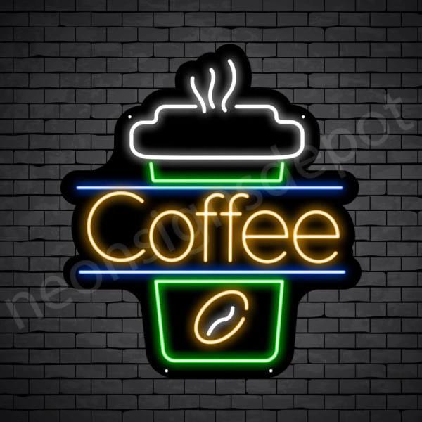 Coffee Neon Sign Cup Coffee Black 22x24