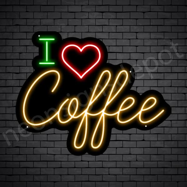 Coffee Neon Sign I Love Coffee Black - 24x19