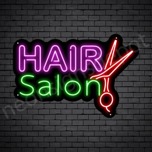 Hair Salon Neon Sign 20L Hair Salon Scissor Black 24x16