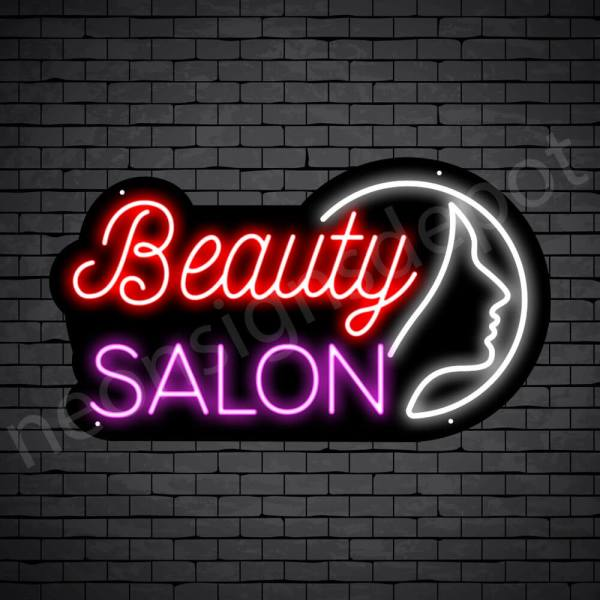Hair Salon Neon Sign Beauty Salon Girl Face Black 24x14