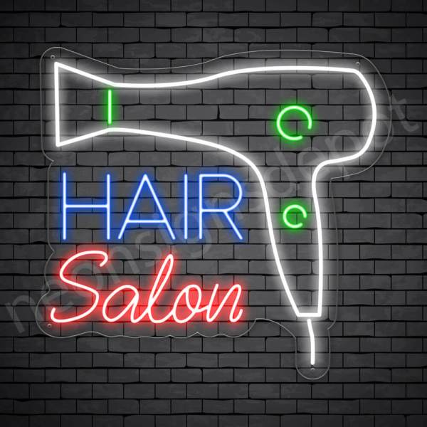 Hair Salon Neon Sign Blower Hair Salon Transparent 24x22