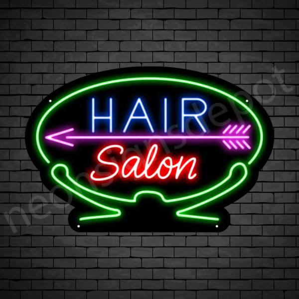 Hair Salon Neon Sign Hair Salon Arrow Black 24x16
