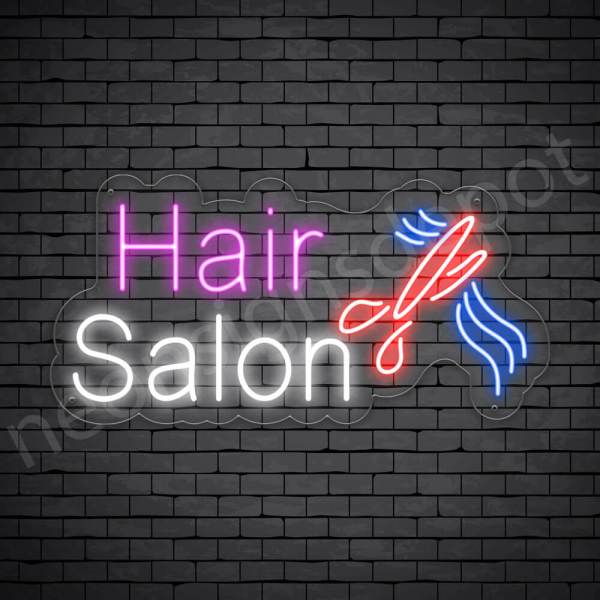 Hair Salon Neon Sign Hair Salon Cut Transparent 24x12