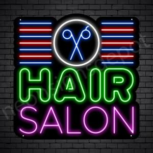 Hair Salon Neon Sign Hair Salon Scissor & Lines Black 24x24