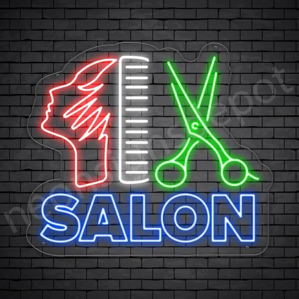 Hair Salon Neon Sign Hair Salon Women Scissor & Comb Transparent 24x21