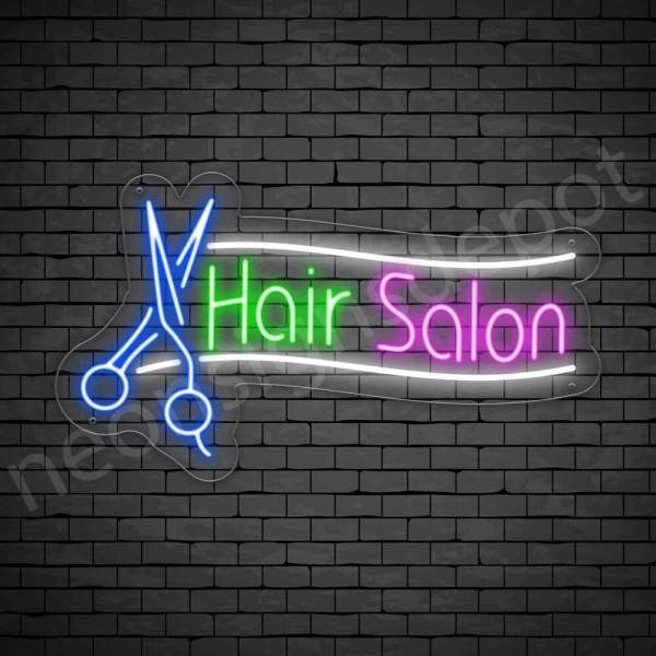 Hair Salon Neon Sign Scissor Hair Salon Transparent - 24x14