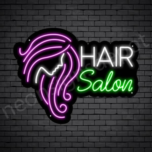 Hair Salon Neon Sign Women Long Hair Salon Black - 18x24