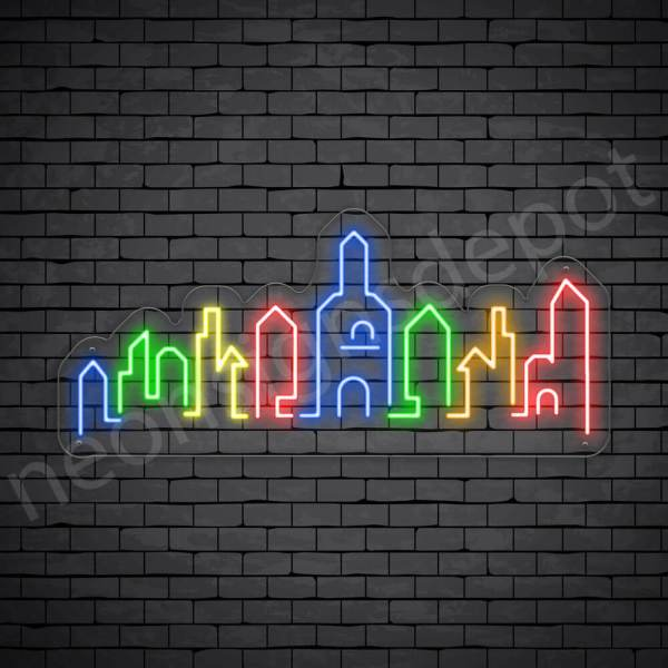 Dubai City Neon Sign Transparent