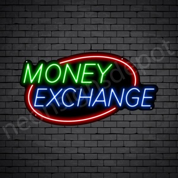 Money Exchange Oval Neon Sign - black