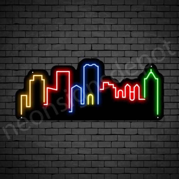 Osaka Japan City Neon Sign - black