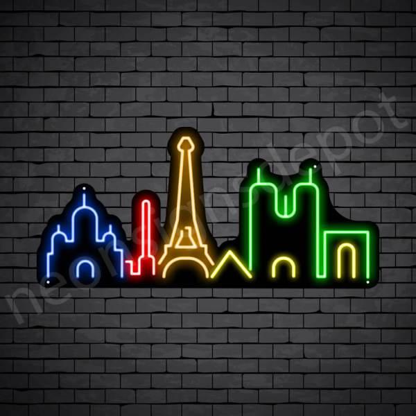 Paris Mesh City Neon Sign - black