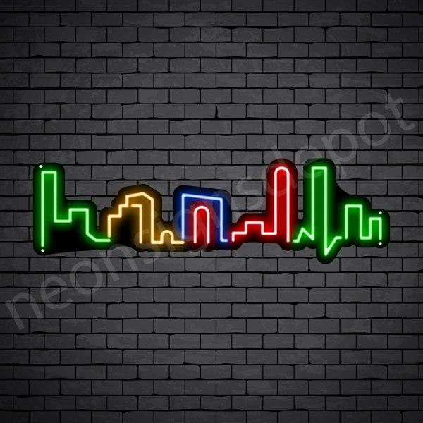 Small Beautiful City Neon Sign - black