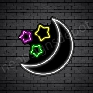 Star Moon Neon Sign - black