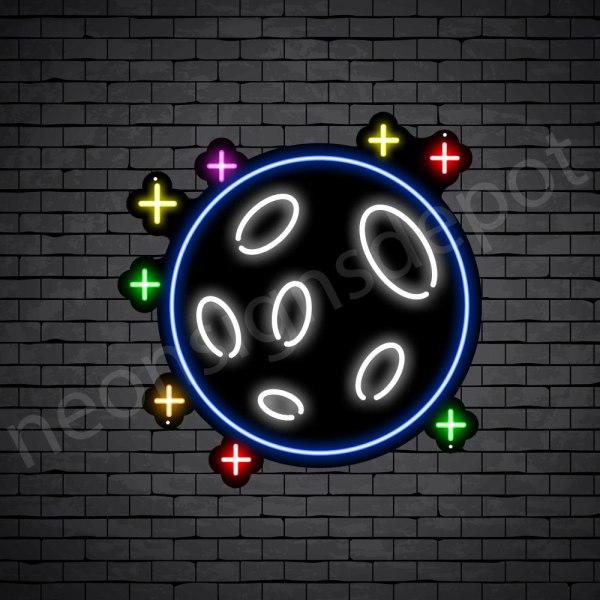 Stars Full Moon Neon Sign - black