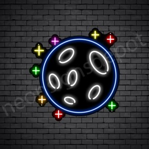 Stars Full Moon Neon Sign - black