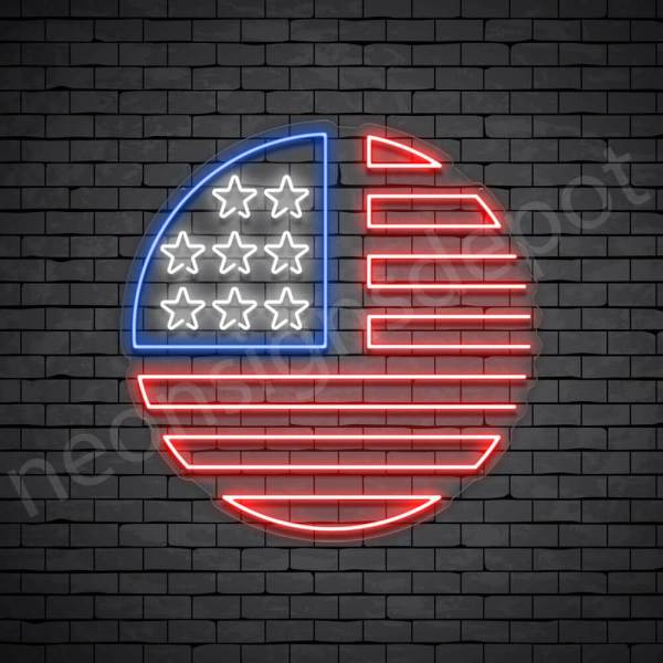 Circle American Flag Neon Sign - transparent