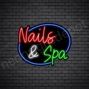 Nails & Spa Circle Neon Sign - Black