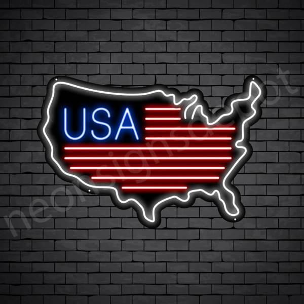 USA Map Flag Neon - Black