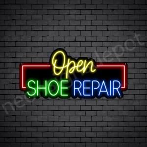 Open Shoe Repair Neon Sign - Black