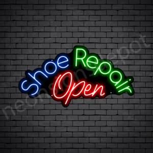 Shoe Repair Open Neon Sign - Black
