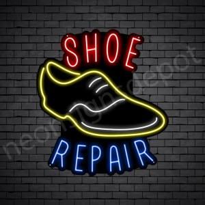 Shoe Repair Round Neon Sign - Black