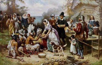 We know the story of the first Thanksgiving, but how has the food changed since then? (Wikimedia Commons / Jean Leon Gerome Ferris)