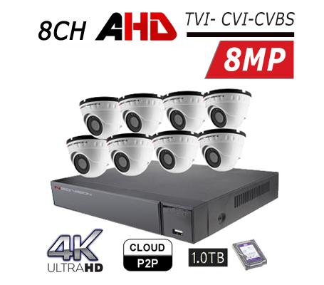 מערכת 8 מצלמות אבטחה כיפה AHD 8MP,