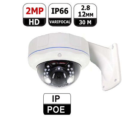 מצלמת אבטחה כיפה IP POE 2MP 12mm