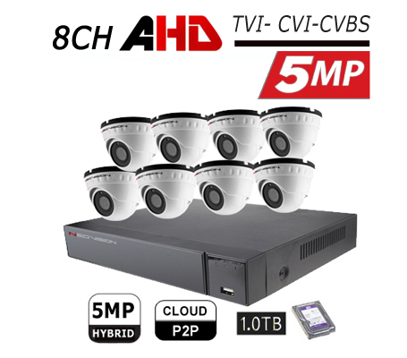 מערכת 8 מצלמות אבטחה כיפה AHD 5MP