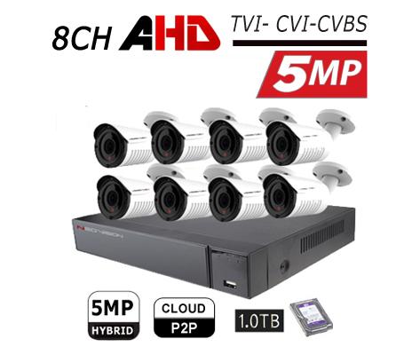 מערכת 8 מצלמות אבטחה צינור AHD 5MP