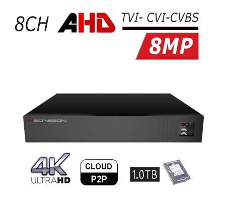 מכשיר הקלטה 8 ערוצים DVR AHD 4K