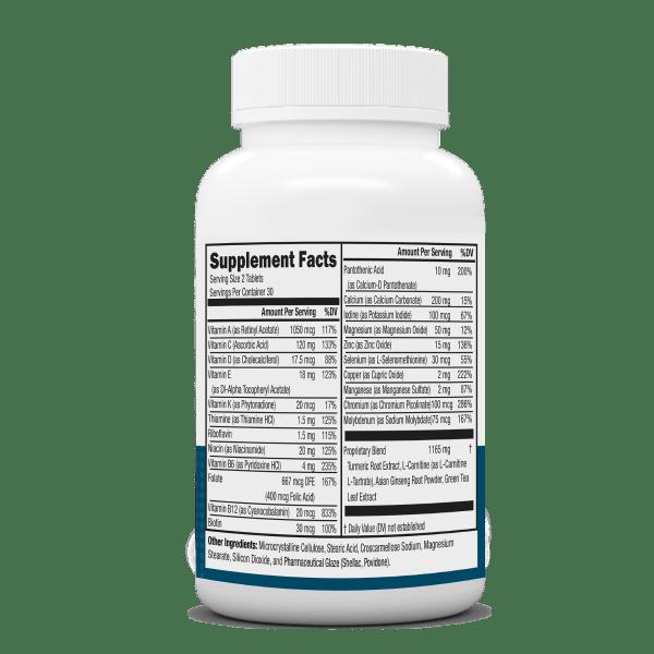 NeoVitin Mens 50 Plus Multivitamin Bottle Nutrition Facts Panel