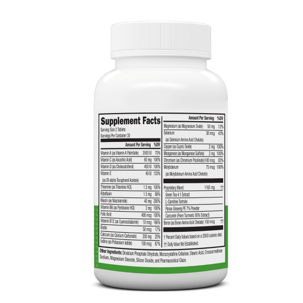 NeoVitin Original Formula Multivitamin Bottle Nutrition Facts Panel