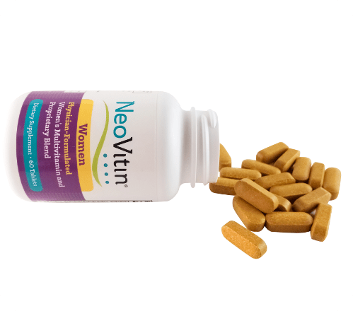 NeoVitin Womens Multivitamin Bottle on Side with Tablets