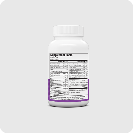 NeoVitin Womens Multivitamin Bottle With Supplement Facts On Gray Background