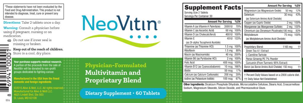 NeoVitin Original Formula Multivitamin Label