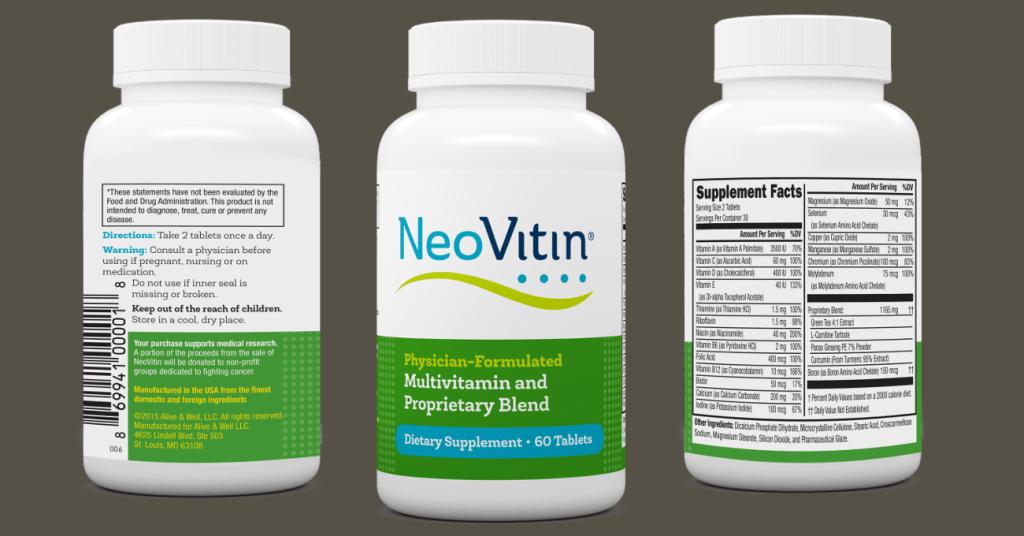 NeoVitin Original Formula Multivitamin Bottles with 3 Label Panels