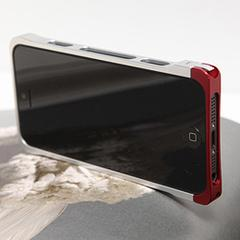 COREMECHATEC MOBiCRAB メタルバンパー for iPhone5(シルバー+レッド) RX-IP5MB-SLRD
