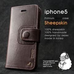 AEJEX iPhone5用ケース DIARYタイプ ダークブラウン AS-AJIP5D-DB