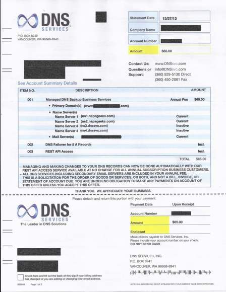 domain name services scam letter dns services invoice scam