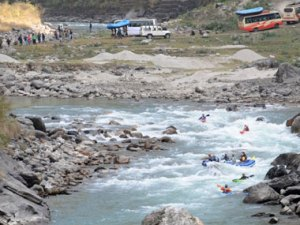 The Bhote Koshi river symbolizes the realistic fight of climate change and the environment. AFP
