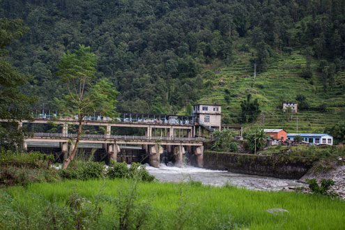 Even as Nepal has the potential to generate upwards of 40,000 megawatts of hydropower, it has been stuck at generating less than 1,000 megawatts for over two decades. Above, a hydro electricity station on the Bhote Koshi River outside Barabise town near the Nepal-China border. Photo/Conor Ashleigh