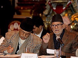 Prime Minister Sushil Koirala (right) at the Parliamentary Public Accounts Committee meeting in Kathmandu on Monday.