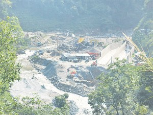 A file photo shows a general view of the under-construction Hewa A Hydropower Project in Ilam