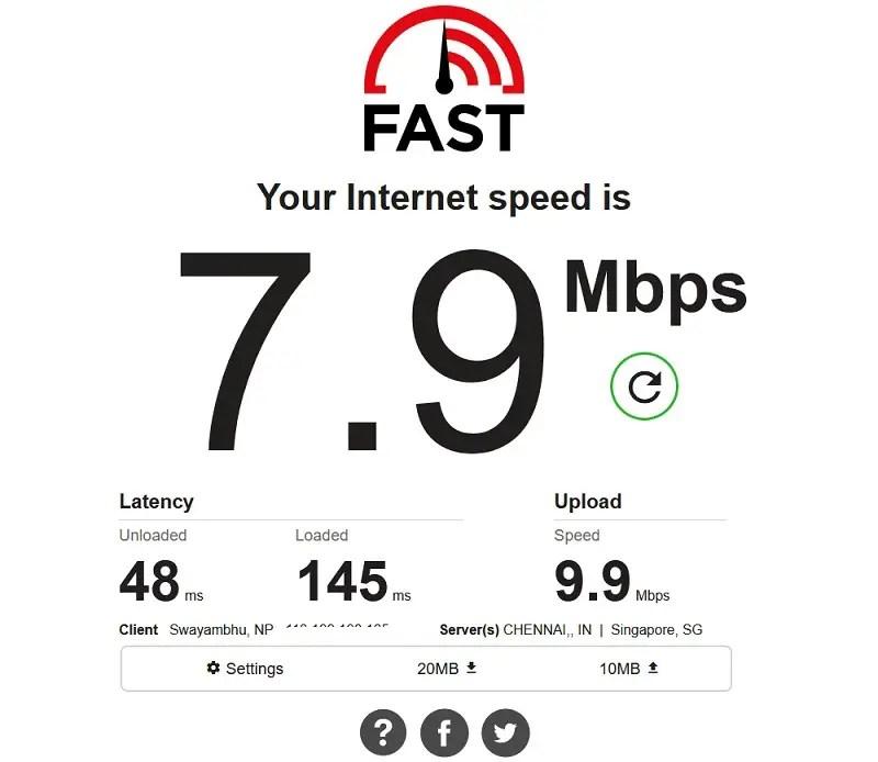 Fast.com speed test result internet
