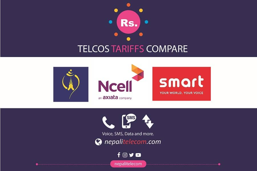 Compare Ntc, Ncell, Smart cell Tariff costs/price for data