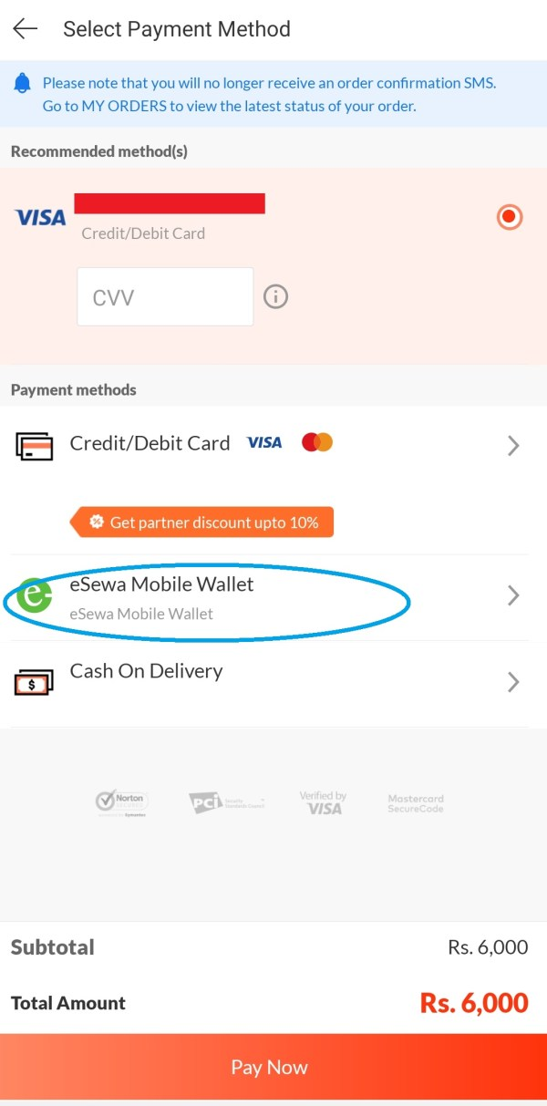 Daraz eSewa payment method