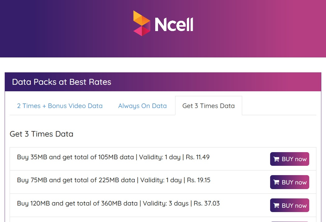 buy data pack Ncell online portal